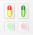 pills blister pack medicine tablets and capsules vector image