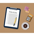 policies policy concept with clipboard document vector image vector image
