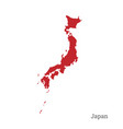 red silhouette of japan on white background vector image vector image