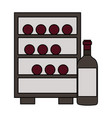 refrigerator with wine bottles vector image