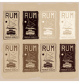rum vintage labels set vector image