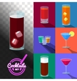 Set of cocktails in transparent glasses vector image