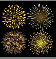 set of golden fireworks vector image