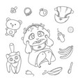 set scared child and cat hygiene items vector image