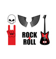 Set symbol rock music Skull and wings guitar and vector image vector image
