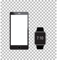 smartphone and smartwatch on white background vector image