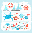 summer colored icons set framed by brush vector image vector image