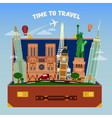 travel banner suitcase full famous places vector image vector image