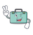 two finger suitcase character cartoon style vector image