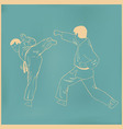 Two men are engaged karate an vector image vector image