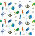 underwater seamless pattern with exotic fish vector image
