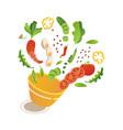 vegetable salad making scene sliced vector image