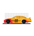 yellow racing car is ready to race on race track vector image