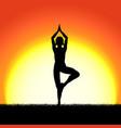 yoga vricshasana pose black silhouette on sunset vector image vector image