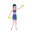 young woman lifting gym dumbbell isolated icon vector image