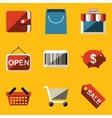 Flat icon set Shop vector image