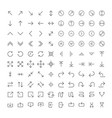 100 line icon set - arrows light version for ui vector image vector image