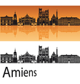Amiens skyline in orange background vector image vector image