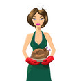 attractive woman with roasted turkey vector image
