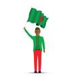 bangladeshi man waving a flag vector image vector image