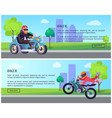 biker web pages design with push buttons vector image vector image