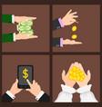 businessman human hands arm holding paper money vector image vector image