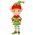 Cartoon Cute Christmas elf posing vector image