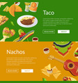 cartoon mexican food web banner vector image vector image