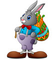 cartoon rabbit carrying a basket full of carrots vector image vector image