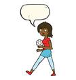 cartoon soccer girl with speech bubble vector image
