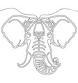 continuous one line elephant head concept vector image
