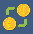 Currency exchange Euro and Cedi vector image vector image