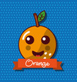 cute orange fruit kawaii cheerful character food vector image