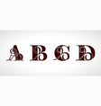 decorative capital letters a b c d for your vector image