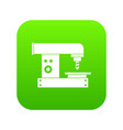 drilling machine icon digital green vector image vector image