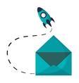 email envelope open rocket startup vector image