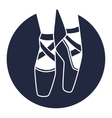 Emblem of dance studio with ballet pointe shoes vector image