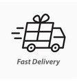 fast delivery line icon on white background vector image