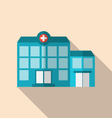 Flat icon of hospital building with long shadow vector image