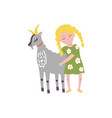 flat teen girl hugging goat domestic pet vector image vector image
