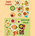 french mexican russian cuisine dishes icon set vector image vector image