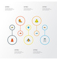 garment icons colored line set with hoodie blouse vector image vector image