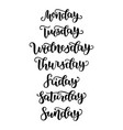 hand lettering days week sunday monday vector image vector image