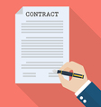 Hand signing contract vector image vector image