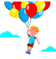 happy child boy flying in the sky on balloons vector image vector image