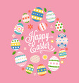 happy easter calligraphic lettering hand font vector image