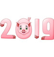 happy new year 2019 of the pig vector image
