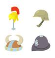 helmet icon set cartoon style vector image vector image