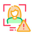 identity alert woman icon outline vector image vector image