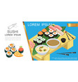 isometric asian food composition vector image vector image